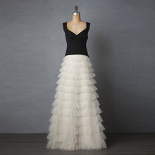 2017 Fashion Ruffles Cake Layers Long Skirts Boutique Tiered Tulle Skirt Womens Maxi Saias Jupe Bridal Skirt Prom Party Gowns(China)
