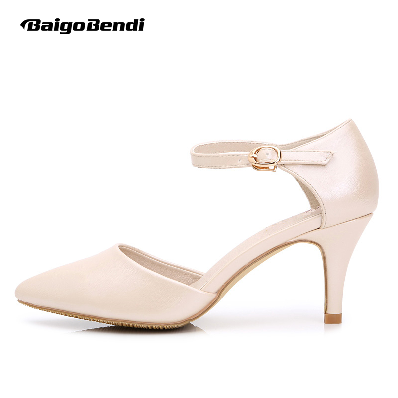 Big Size US 4-10 Womans New Summer Leather Pointy Toe Buckle Strap Sandal OL Fashion Low Heel Shoes Wedding Pumps<br>