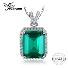 JewelryPalace 6.5ct Created Emerald Necklace 45 cm Silver Chain Genuine Real Solid Pure 925 Sterling Silver Fine Jewelry(China)
