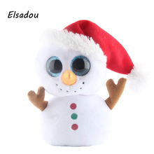 Elsadou Ty Beanie Boos Stuffed & Plush Animals Christmas Snowman with Red Cap Toy Doll