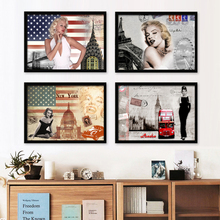Vintage Home Decor Marilyn Monroe Canvas Art Classica Hepburn Deco Wall Pictures American Actress Star Paintings Poster No Frame
