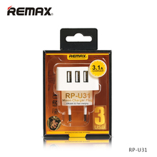 Original Remax Mobile Charger 3 USB Output Charger EU UK Plug for iPad iPhone Samsung Huawei Xiaomi 2.1A Travel Power Adapter(China)