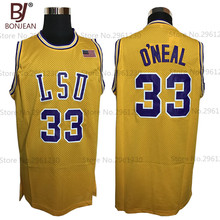 BONJEAN Cheap COLE High School 33# Shaq O'NEAL Basketball Jersey Shaquille Oneal Stitched Throwback Shirts Green Yellow(China)