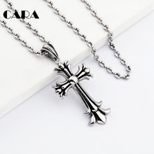CARA New arrival vintage carving cross necklace pendant Christian well polished stainless steel link chain necklace men CAGF0264