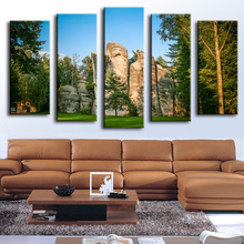 5PCS The blue sky mountain tree wall painting for home decor oil painting wall art print canvas , wall picture,No Framed