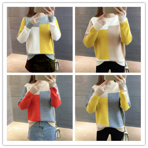 Women Color Block Sweater Female Winter Long Sleeve Knitted Pullover Sweater Women Contrast Color Jumper Sweater 4 Clour