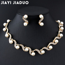 jiayijiaduo African bridal gold-color jewelry set imitation pearl for women necklace earrings set wedding design gift party(China)