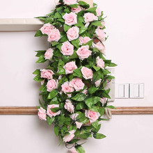 DIY Flower Home Decoration Wedding Fake Silk Rose Hanging Flower Garland Home Artificial Flowers for wedding decoration mariage