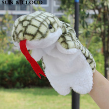 SUN & CLOUD 1 Pcs Snake Hand Finger Puppet Set Baby Plush Stuffed Toy Snake Hand Puppet Kid Birthday Gift(China)