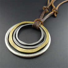 New Arrival Fashion Antique Handmade Brown Rope Vintage Alloy Hoops Pendant Leather Necklace For Women Men Wholesale jewelry