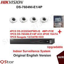 Hikvision Original English Indoor CCTV Security System 4pcs DS-2CD2542FWD-IS 4MP IP Camera POE+6MP Recording NVR DS-7604NI-E1/4P(China)