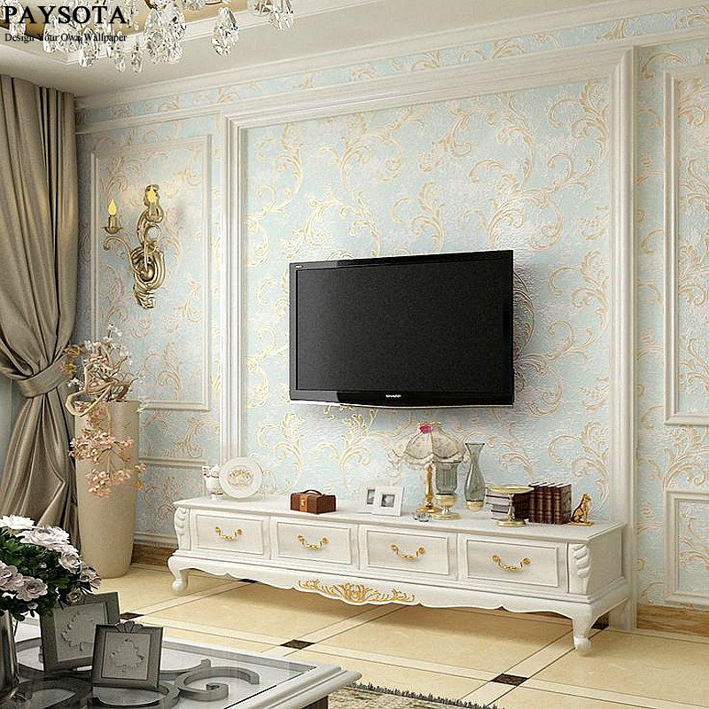 PAYSOTA Green Leaves Bronzing Non-woven Wallpaper Living Room Bedroom TV Sofa Background Blue Green Embossed Wall Paper<br>