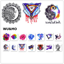 WU&MO Corlorful Flower Rose Wolf Body Art Sexy 8x8cm Waterproof Temporary Tattoo For Man Woman Henna Fake Flash Tattoo Stickers