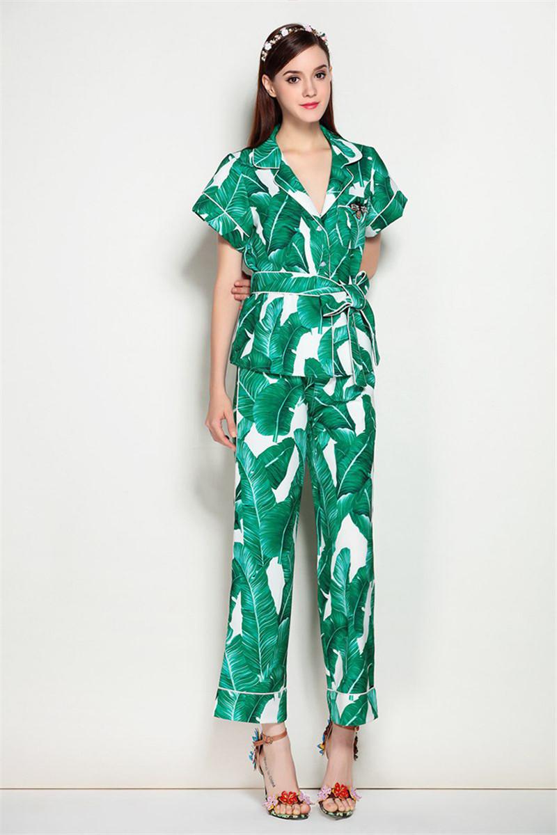 Brand Fashion Two Piece Set Women Runway Suit Fashion Green Leaf Print Dragonfly Beading Shirt + Elastic Waist Pants Sets 7
