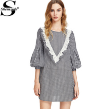 Sheinside Eyelet Embroidery Gingham Dress Ruffle Yoke Bishop Sleeve Women Cute Summer Dresses 2017 New Elegant Mini Shift Dress