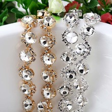 1yard Satellite wave glass crystal Rhinestone claw chain For DIY Wedding Dress Decoration Sew on Garment Bags