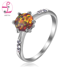 ZHE FAN Blue White Pink Brown Round Fire Opal Rings For Women 6 Claws Simple Engagement Wedding Lady Ring Jewelry Accessories