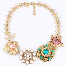 Wing Yuk Tak Limited Trendy Chains Maxi Necklace Collier Collares New Fashion Luxury Flower Necklace Accessories Wholesale(China)