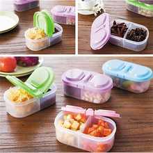 Plastic Food Storage Box 2 Lattices Sealed Crisper Grains Tank Storage Kitchen Sorting Food Storage Box Container(China)