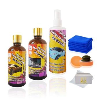 Voiture sans eau propre cire kit et nano cristal céramique de voiture revêtement plus super hydrophobe auto verre seff nettoyage de revêtement
