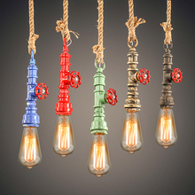 DIY Vintage Steam Water Pipe Colorful Pendant Lamp Loft Industrial E27 Hemp Rope Lights Bar Restaurant Decor