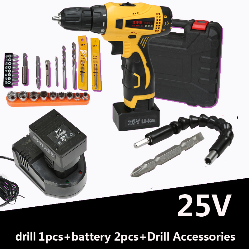 25V electric tools Wireless battery screwdriver  impact drill rechargeable screwdrivers with Battery 2 drill accessories<br><br>Aliexpress