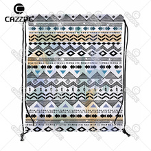 Black and White Ripple Aztec Tribal Ethnic Print Custom individual Nylon Fabric Drawstring Shoes Storage Dust Bag Pack of 4()