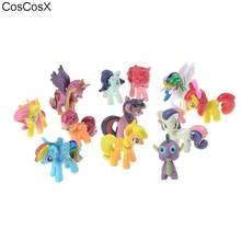 CosCosX 12pcs/set unicorn+Rainbow Dash horse model Action Figure toys ponies horse model For Children Christmas Gift(China)
