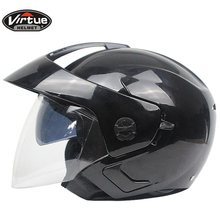 Motorcycle Scooter Open Face Half Helmet double Visor UV Goggles Retro Vintage Style 54-60cm for Security Accessories(China)
