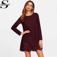 Sheinside Winter Round Neck Dress 2017 Scallop Laser Cut Hem Tunic Shift Dress Burgundy Long Sleeve Elegant Short Dress(China)