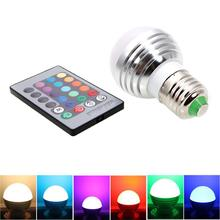 E27 16 Colors Changing 3W 85-265V 110V 220V Magic RGB LED Lamp Light Dimmable RGB Bulb 24key IR Remote Control lighting