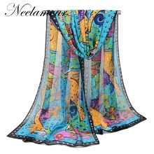 2017 Newly Design Women Ladies cat dog Cartoon Print Scarf Warm Wrap Animal Bufandas Mujer  Female Pashmina Shawls