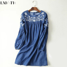 Denim Dresses Women 2017 Spring Thin Casual Loose Plus Size Denim Dress jeans Summer Light Blue Embroidered Dress Vestidos Mujer