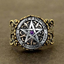 Steampunk Fashion Wiccan Protection black magick Pagan Pentagram Ring Round Glass Dome Gift Women Men antique