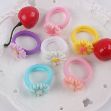 2017 Spandex material hair accessories for girls kids rubber band 28mm Plant chrysanthemum 22mm model The ponytail holder T167