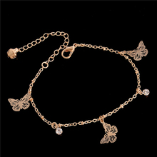 SHUANGR New Arrival Butterfly charm anklet bracelet for women Gold-Color Bracelet on a leg Fashion foot chian Ankle love jewelry