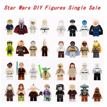 Single Sale Star Wars Luke Leia Han Solo Anakin Darth Vader Yoda Jar Jar Binks  DIY Dolls Building Blocks Toy For kid legoing