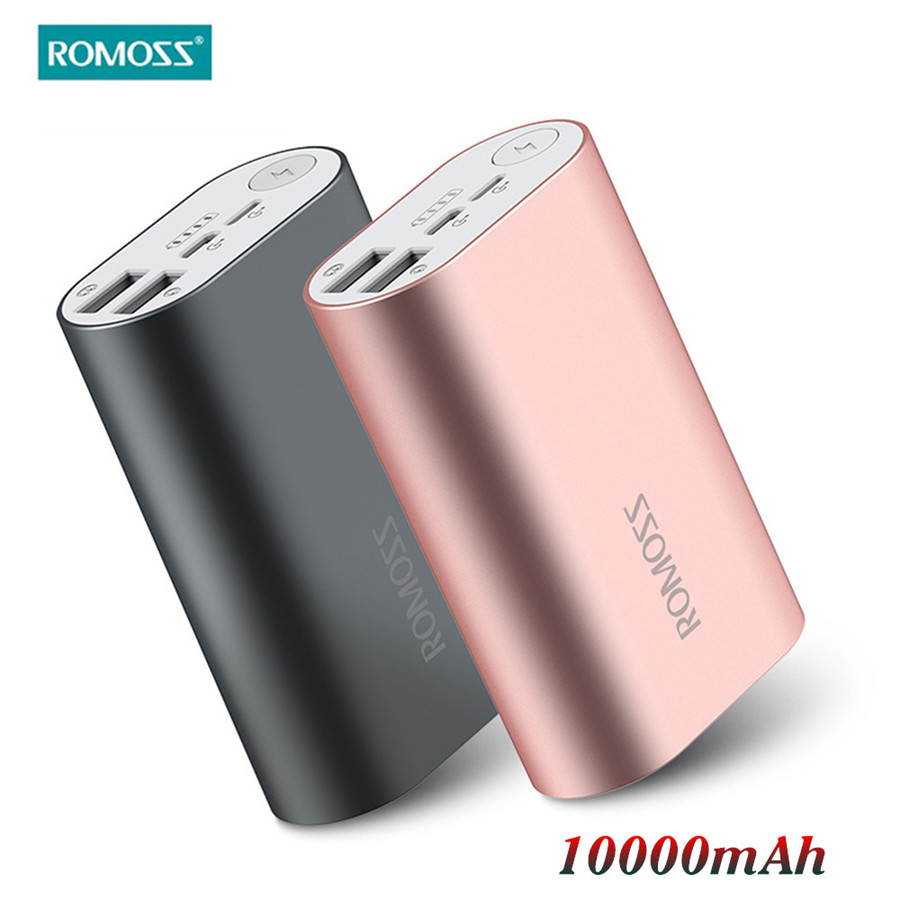 ROMOSS ACE Pover Bank 10000mAh Dual USB Outputs Aluminum Alloy External Battery Pack Power Bank For iPhone 7 plus Tablets phones(China (Mainland))
