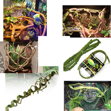Plastic Artificial Ivy Vine With Green Leaves For Reptile Feeding Box Decoration Handmade Hanging Rattan Small Amphibian Habitat(China)