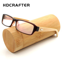 HDCRAFTER Square Vintage Retro Bamboo Eyeglasses Frame Men Women Wooden Optical Glasses Frame With Clear Lens(China)