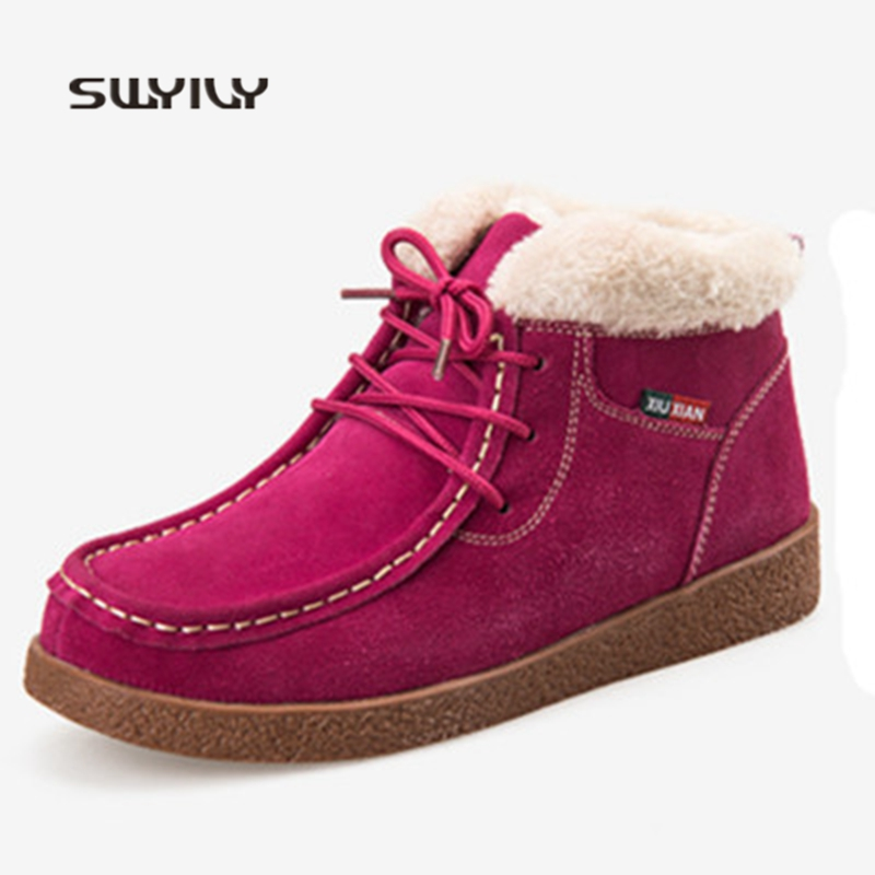 SWYIVY Women Winter Warm Shoes 2018 Plus Velvet Leather High-top Walking Shoes Women Light Weight Lace-up Women Sneakers