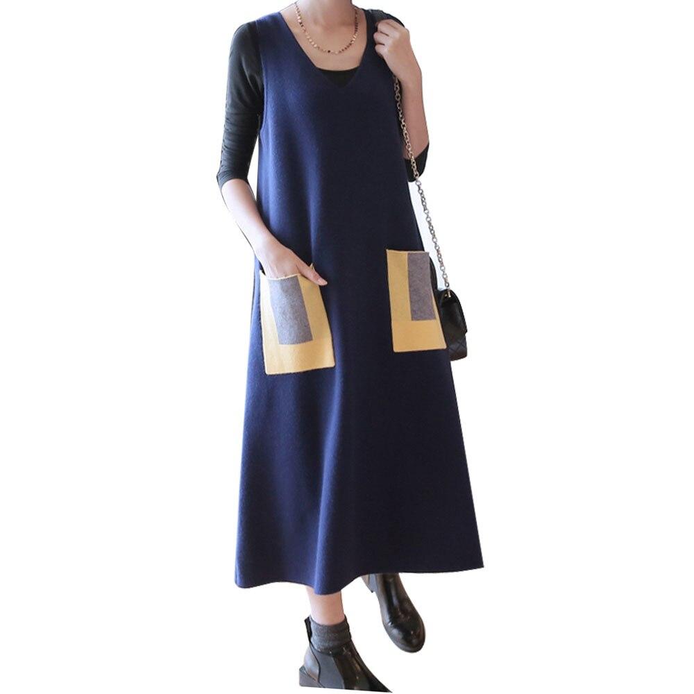 Women Sleeveless Long Knitted Tank Dress Lady Fashion Casual Loose Sweater Dress Female Pullover V-neck Vest KnitwearÎäåæäà è àêñåññóàðû<br><br>
