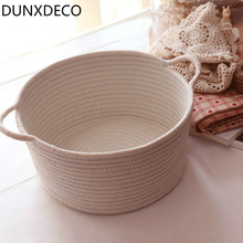 DUNXDECO Home Office Storage Cotton Thread Basket Toys Cloth Table Organizador Fresh Simple Textile Container Decoration(China)