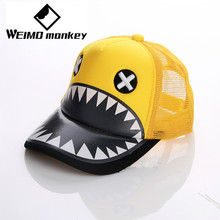 Yellow Fashion Shark hat animal Kids hat cap net cap Breathable Outdoor Cap Sportswear Hat Casual Cap Summer head wear sweats