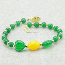 8mm Natural Stone Green Chalcedony Bracelet Girls Christmas Gifts Fashion Women Jewelry Making Design Hand Made Ornament 7.5inch(China)