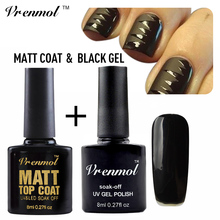Vrenmol 2pcs Clear Matte Matt Top Coat + Black Color Nail Gel Polish Soak Off Dull Finish Gel Lacquer Nail Art Set
