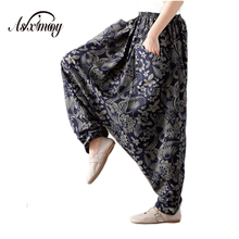 2018 Print Plus Size Casual Vintage Wide Leg Cotton Linen Pants Women Elastic High Waist Lantern Harem Pants Pantalones Trousers(China)