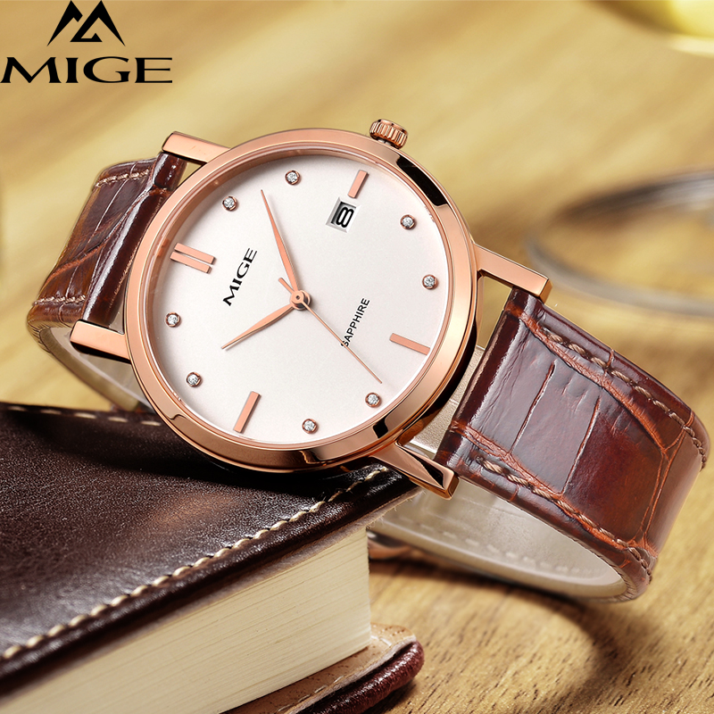 Lower Price with Mige Fashion Luxury Men Women Watch Quartz Calendar Synthetic Sapphire Glass Rhinestone Waterproof Cowhide Leather Strap Relogio Lover's Watches