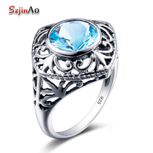 Szjinao Usa 100% 925 Sterling Silver Flower Ring Graduation Gift Blue Stone Rhinestone Personal Rings Women Fashion Jewelry - Obama gold jewelry Co., LTD store