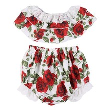 2 PCS Summer Newborn Clothing Set European Style Lace Tube Tops + Floral Brief Newborn Kids Costume for 6-18M